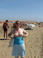 My mother showing off her body on the beach