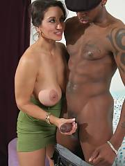 Gorgeous mom in incredible handjob interracial pic