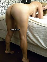 Hot mature lady takes her red panties and bra off and shows her hot fuckable body on bed