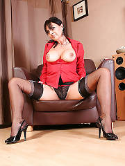 Hot boobed MILF deanna deville in ff nylon stockings