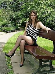Sexy sexy outdoor mother dressed in black pantyhose