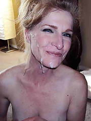 Sexy wife gets a facial cumshot.