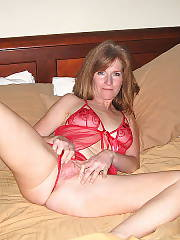 Hot wifey in red underwear touching