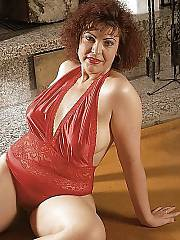 Mature mom in red