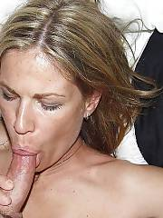 Tall and lean mamma positions nude on cam and suck cock.