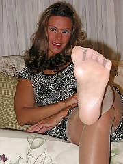 Sexy mom michelle-stockings, footjob & blowjob.