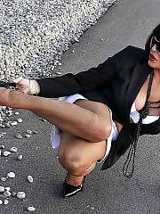 Mature mamma amanda in hot stockings outdoors