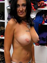 Boobed brunette mother with bangin body