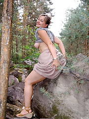 Sweet sexual and home made mother undresses in the woods Blonde MILF NONPorn