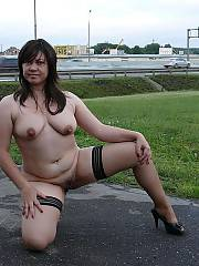 Naughty mature whore goes along the street with a nude ass!  shell do anything for a good hard prick into her!