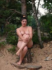 The naked mature whore walks on wood and searches sexual adventures... - i think im going to start hiking again