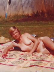 My ex-wife posing in almost public. - naked in the back yard, only one fence, just how she liked it
