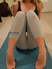 Middle aged sweet wifey doing yoga and taking her leggings off to show amazing butt and pussy close up - amateur sex pictures