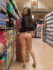 Ordinary babes wear no panties and flash lovely cunts under skirt in public while doing shopping in grocery stores
