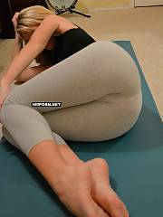 Another set from sweet mother id like to fuck, watch her doing yoga dressed in sexy pants, taking leggings off, exposing perfect round ass and sweet pussy close up, flashing feet ideal for footjob.., and.., blowing and banging husbands penis to orgasm and