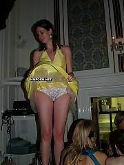 Naughty and playful babes next-door taking panties off and flashing beautiful vaginas up-skirt in public and at home