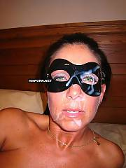 Amateur sex - masked mature wifey giving a fine head and getting her slutty face facialized by big cumshot from prick of her husband