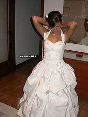 Bride takes her wedding dress off after wedding ceremony, and goes to honeymoon vacation with husband, There she enjoys life, taking sun baths nude, having oral and vaginal sex with him and more - amateur xxx photos