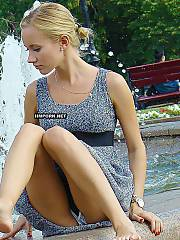 Nice ammeteur chicks flashing their sexy panties and nude vaginal lips under skirt in public