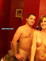 Hot amateur couple having excellent time in restaurant