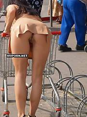Exciting under skirt views of hot women wearing no panties even when walking outside