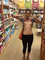 Shameless lovelies flashing asses, titties and naked cunts in public when doing shopping in grocery stores, malls and other huge supermarkets