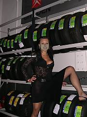 Amateur sex - sleazy secretary having crowded group sex with all service dudes right at the Citroen car selling company