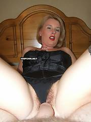 Perfect blond mature wife sucking huge prick of her husband