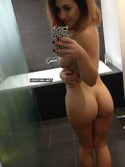 Hot and nasty amateur women taking panties off and making nude selfies in front of the mirrors, watch their pretty cunts between wide spreaded legs and from behind, between creamy buttocks