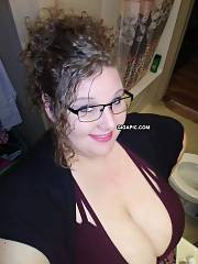 Chubby 30 yr old wifey shows her DDD titts