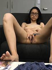 Asian sweetheart getting naked, fucked, facial and touching herself