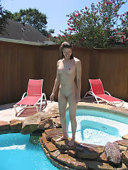 Ex by the pool side, she was such a skinny bitch, she was out there all the time too why no tan?