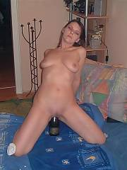 Nasty wifey trying to get drunk through her pussy, plus additional fucktoy shots
