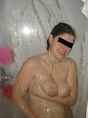 Shes getting neat - soapy tits, sloppy pussy and spread pussy. in the wife having fun and pregnant and naked series