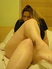 Chubby wife having fun with the dildo i bought her