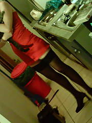 My ex in hot stockings and a red dress