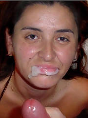Pictures of my ex wifey posing with jizz on her chin and getting some penetration