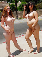 My chunky wife and her chunky friend being horny on our street corner, dared em while they had too many margaritas