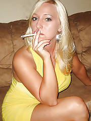 Sexy blondie smoking wife.