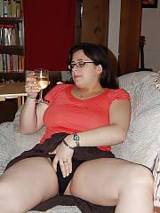 Nasty boobed brunette