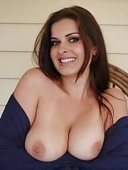 Hot brunette wifey showing her massive boobies
