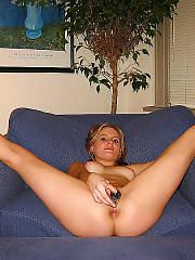 Hot and naughty ex gf toying on couch.
