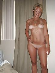 Sexy blond ex getting naked after the party.