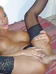 Amateur blond in stockings fisted hard