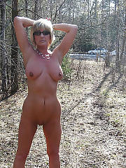 Blondie mature stephie blue getting naked outdoor.