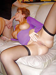 Short haired redhead wife blowing penis