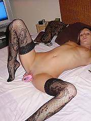 Home made slut clio likes toying her sloppy bald vagina and tight backside in bed.