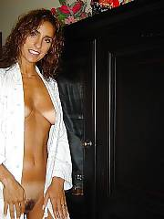 Hot hungry MILF strips at home.