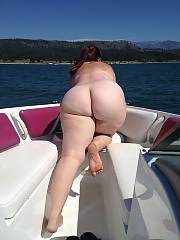 Beautiful white curvy on a boat