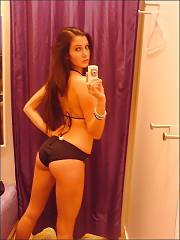 Amateur dark haired ex-girlfriend likes selfshooting herself nude at home.